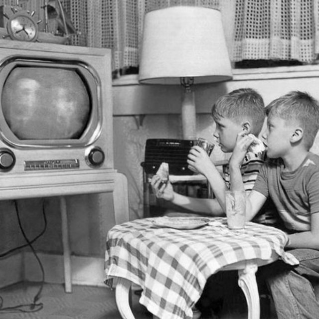 TV Dinners in the 1950's  	 NSAPTV Eating in front of the television set became a way of life for many Americans in the 1950's. These children eat and watch on June 28, 1951.  Photo by Arthur Brower / The New York Times Photo Archives